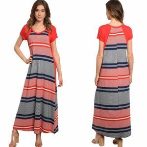 S M L Red Striped Jersey Long Maxi Dress